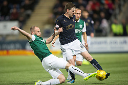 Hibernian's David Gray and Falkirk's Blair Alston. Falkirk 0 v 1 Hibernian, Scottish Championship game played 20/10/2015 at The Falkirk Stadium.