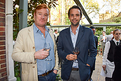 Left to right, Mark Dyer and Charlie Gilkes at The Ivy Chelsea Garden's Annual Summer Garden Party, The Ivy Chelsea Garden, 197 King's Road, London England. 9 May 2017.<br /> Photo by Dominic O'Neill/SilverHub 0203 174 1069 sales@silverhubmedia.com