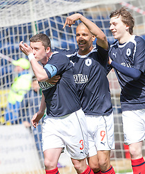 Falkirk's Thomas Scobie, with Farid El Alagui, as he celebrates after scoring their first goal..Falkirk's Football Club's last game of season 2011-2012..Falkirk 3 v 2 Ayr United, 5/5/2012..©Michael Schofield..