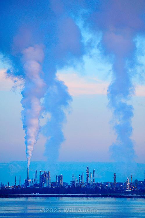 Tesoro oil refinery at March Point in Anacortes, Washington, USA