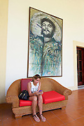 Havana, Cuba. Che Guevara portrait with cigar at Hotel Nacional de Cuba.