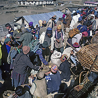 NEPAL, HIMALAYA. Weekly Saturday market in Namche Bazaar, leading Sherpa town, where locals trade with lowland people. (1986 Photo).