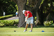 Brad Dalke of Oklahoma tees off on number four during the first round of the 3rd annual Kaanapali Classic collegiate invitational. Kaanapali Royal Course Lahaina, Hawaii November 4th, 2016/ Photo by Aric Becker