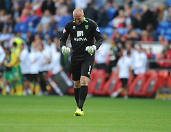 Norwich's John Ruddy celebrates the 4th goal of the game. - Photo mandatory by-line: Alex James/JMP - Mobile: 07966 386802 30/08/2014 - SPORT - FOOTBALL - Cardiff - Cardiff City stadium - Cardiff City  v Norwich City - Barclays Premier League