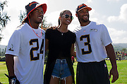 January 30 2016: Seattle Seahawks Russell Wilson and Ciara pose for a photo with Atlanta Falcons DeVonte Freeman after the final Pro Bowl practice at Turtle Bay Resort on Oahu, HI. (Photo by Aric Becker/Icon Sportswire)
