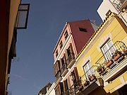 Architectural detail of apartment blocks in downtown Malaga, Spain
