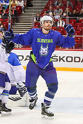 Miha Verlic of Slovenia celebrates after goal during Ice Hockey match between National Teams of Kazakhstan and Slovenia in Round #4 of 2018 IIHF Ice Hockey World Championship Division I Group A, on April 27, 2018 in Arena Laszla Pappa, Budapest, Hungary. Photo by David Balogh / Sportida