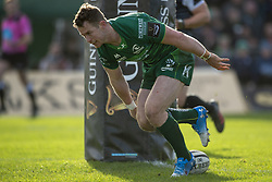 March 2, 2019 - Galway, Ireland - Matt Healy of Connacht scores a try during the Guinness PRO 14 match  between Connacht Rugby and Ospreys at the Sportsground in Galway, Ireland on March 2, 2019  (Credit Image: © Andrew Surma/NurPhoto via ZUMA Press)
