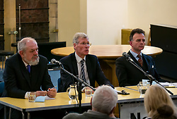 North Berwick, East Lothian, Scotland, United Kingdom, 28 November 2019. General Election: First hustings for the 5 candidates seeking election as MP for East Lothian with questions from the audience ranging from Defence to Honesty. Pictured (L to R): David Sisson, UKIP candidate, former Justice Secretary Kenny MacAskill, Scottish National Party (SNP) candidate, Keith Stewart, QC & chair of the event.  Sally Anderson | EdinburghElitemedia.co.uk