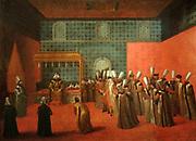 Ambassador Cornelius Calkoen at his Audience with Sultan Ahmed III by Jean Baptiste Vanmour (1671-1737) oil on canvas, c 1727-1730.  The actual audience was held in the sultan's private living quarters in the palace.  After the meal with the grand vizier, Calkoen and his retinue were presented with kaftans as a sign of hospitality, but also to cover the clothing of the 'non-believers'.  Ahmed sits on a throne, with four princes next to him.  Calkoen is giving a speech and will afterwards present his credentials to the sultan.