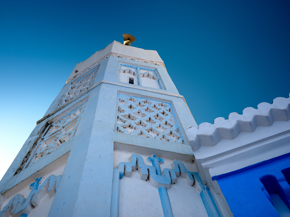 CHEFCHAOUEN, MOROCCO - CIRCA MAY 2018: Minaret of a mosque in the old town.