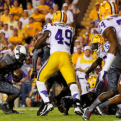 October 13, 2012; Baton Rouge, LA, USA;  South Carolina Gamecocks running back Marcus Lattimore (21) runs against the LSU Tigers during the first quarter of a game at Tiger Stadium.  Mandatory Credit: Derick E. Hingle-US PRESSWIRE