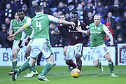 Isma Goncalves under pressure during the William Hill Scottish Cup 4th round match between Heart of Midlothian and Hibernian at Tynecastle Stadium, Gorgie, Scotland on 21 January 2018. Photo by Kevin Murray.