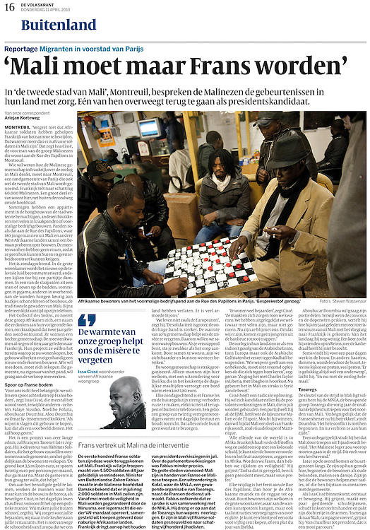 Assignment. Illegal immigrants from Mali in Paris. (France)