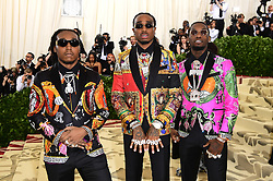 Takeoff, Quavo, and Offset attending the Metropolitan Museum of Art Costume Institute Benefit Gala 2018 in New York, USA.