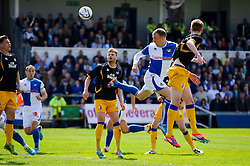 David Clarkson (SCO) of Bristol Rovers heads a shot - Photo mandatory by-line: Rogan Thomson/JMP - 07966 386802 - 03/05/2014 - SPORT - FOOTBALL - Memorial Stadium, Bristol - Bristol Rovers v Mansfield Town - Sky Bet League Two. (Note: Mansfield are wearing a Rovers spare kit having forgotten their own).