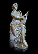 Roman stuate from the time of Hadrian of the muse Tersichore, inv 308, Vatican Museum Rome, Italy,  black background ..<br /> <br /> If you prefer to buy from our ALAMY STOCK LIBRARY page at https://www.alamy.com/portfolio/paul-williams-funkystock/greco-roman-sculptures.html . Type -    Vatican    - into LOWER SEARCH WITHIN GALLERY box - Refine search by adding a subject, place, background colour, museum etc.<br /> <br /> Visit our CLASSICAL WORLD HISTORIC SITES PHOTO COLLECTIONS for more photos to download or buy as wall art prints https://funkystock.photoshelter.com/gallery-collection/The-Romans-Art-Artefacts-Antiquities-Historic-Sites-Pictures-Images/C0000r2uLJJo9_s0c