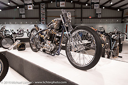 Italy based 70's Helmets' Fabrizio Caoduro commissioned Andrea Radaelli of Radical Choppers Milano to build The Skinny, a custom Harley-Davidson Ironhead XLCH 1000 on display here What's the Skinny Exhibition (2019 iteration of the Motorcycles as Art annual series) at the Sturgis Buffalo Chip during the Sturgis Black Hills Motorcycle Rally. SD, USA. Friday, August 9, 2019. Photography ©2019 Michael Lichter.