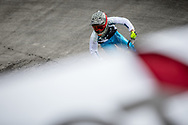 during practice at the 2018 UCI BMX World Championships in Baku, Azerbaijan.