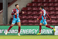 Goal Scunthorpe United forward Kyle Wootton (29) celebrates as he scores a goal to take the lead 1-0 during the EFL Sky Bet League 1 match between Scunthorpe United and Wycombe Wanderers at Glanford Park, Scunthorpe, England on 29 December 2018.