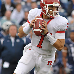 Oct 31, 2009; East Hartford, CT, USA; Rutgers quarterback Tom Savage (7) scrambles for a first down during second half Big East NCAA football action in Rutgers' 28-24 victory over Connecticut at Rentschler Field.
