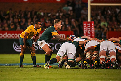 Francois Hougaard of SA and Will Genia of Australia during the Castle Lager Rugby Championship test match between South Africa and Australia held at Loftus Versfeld stadium in Pretoria on the 1st October 2016<br /> <br /> Photo by: Dominic Barnardt/ RealTime Images