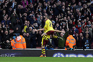 Sam Vokes of Burnley celebrates after scoring his sides 1st goal to make it 1-1 with Stephen Ward of Burnley. The Emirates FA cup, 4th round match, Arsenal v Burnley at the Emirates Stadium in London on Saturday 30th January 2016.<br /> pic by John Patrick Fletcher, Andrew Orchard sports photography.
