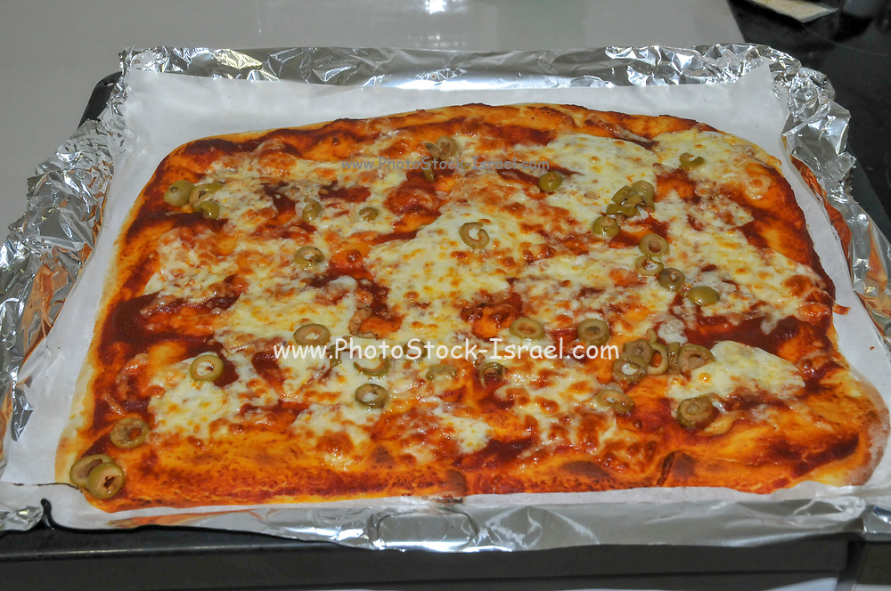 Home made Pizza after baking in an oven