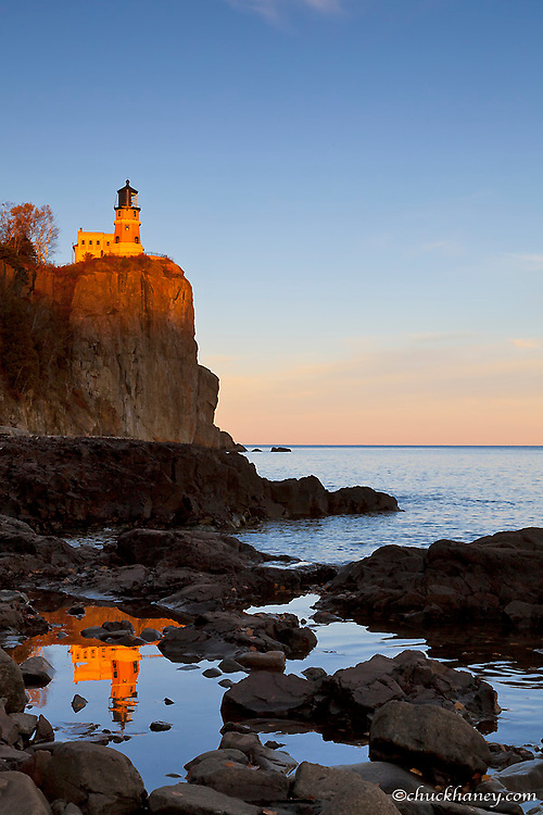 Split Rock Lighthouse at sunset near Two Harbors, Minnesota, USA