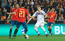 March 24, 2019 - Valencia, Valencia, Spain - Daniel Parejo of Spain national team and Martin Odegaard of Norway national team during the European Qualifying round Group F match between Spain and Norway at Estadio de Mestalla, on March 23 2019 in Valencia, Spain  (Credit Image: © Maria Jose Segovia/NurPhoto via ZUMA Press)