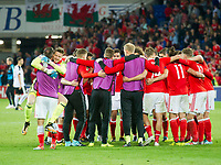 Football - 2017 / 2018 _Wales v Austria_FIFA World Cup Qualifier 2018<br /> <br /> Wayne Hennessey of Wales celebrates as his team mates gather in a circle after winning the match--- at Cardiff City Stadium.<br /> <br /> COLORSPORT/WINSTON BYNORTH