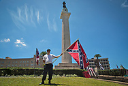 """Protesters who came to Lee Circle to stand up to the """"Antifa"""" who were coming to the the circle to celebrate the fact the city will taken down three more Confederate Monuments."""