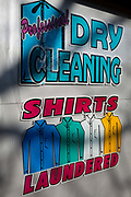 A detail of a Dry Cleaning and Laundry business in south London, on 20th January 2019, in London England.