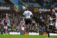 Tottenham's Jermain Defoe scores the 1st goal. Capital one cup 3rd round match, Aston Villa v Tottenham Hotspur at Villa Park in Birmingham on Tuesday 24th Sept 2013. pic by Andrew Orchard, Andrew Orchard sports photography.