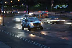 May 24, 2017 - Toronto, ON, Canada - TORONTO, ON- MAY 24  -  Police sit at the scene after a five-year-old boy is dead after being struck by a vehicle in Parkdale on Wednesday evening. Toronto police arrived near Lake Shore Blvd. W and Jameson Ave. around 6:30 p.m. The driver of the vehicle remained at the scene. Paramedics took the boy to the Hospital for Sick Children, where he later succumbed to his injuries. The accident happened in front of the Legion on Lake Shore Blvd. East. in Toronto. May 24, 2017.  Steve Russell/Toronto Star (Credit Image: © Steve Russell/The Toronto Star via ZUMA Wire)