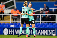 Brighton & Hove Albion midfielder Maisie Symonds (24) celebrates win with Brighton & Hove Albion defender Felicity Gibbons (3) during the FA Women's Super League match between Birmingham City Women and Brighton and Hove Albion Women at St Andrews, Birmingham United Kingdom on 12 September 2021.
