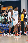 THOUSAND OAKS, CA Sunday, August 12, 2018 - Nike Basketball Academy. DJ Jeffries 2019 #13 of Olive Branch HS enters the game. <br /> NOTE TO USER: Mandatory Copyright Notice: Photo by Jon Lopez / Nike