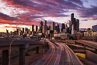 Downtown Seattle Skyline & Route 99 @ Sunset