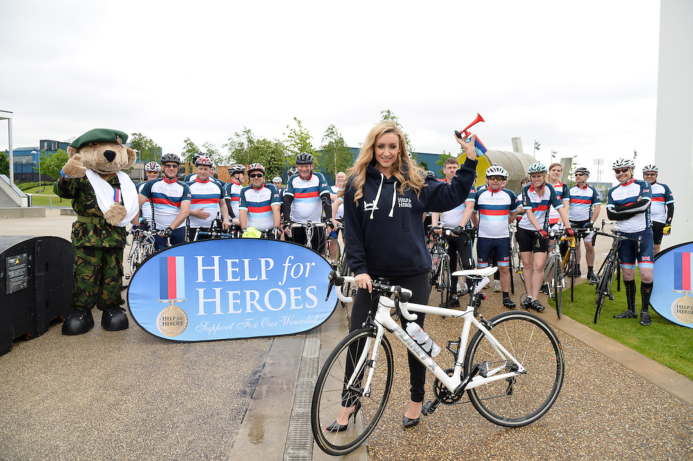 """Corrie's Cath Tyldesley sets off Manchester Hero Ride - The Help for Heroes fundraising bike ride challenge to London (230 miles) which will join up with over 1000 other cyclists to ride into Central London together as the biggest national display of support for our wounded, injured and sick Service men and women.<br /> <br /> Cath said """"It's fantastic to be involved in setting off Hero Ride in Manchester today. These riders have such a long way to cycle over the next few days and i wish them all the luck in the world! They have all worked so hard to raise money for Help for Heroes to support the incredible work they do which is amazing.""""<br /> Pix Dave nelson"""