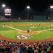The South Carolina Gamecocks and Clemson Tigers college baseball rivalry gets underway in Columbia, S.C. in this panoramic photograph ©Travis Bell Photography
