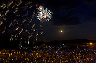 Chester, New York - Fireworks and full moon on Saturday, July 12, 2014.