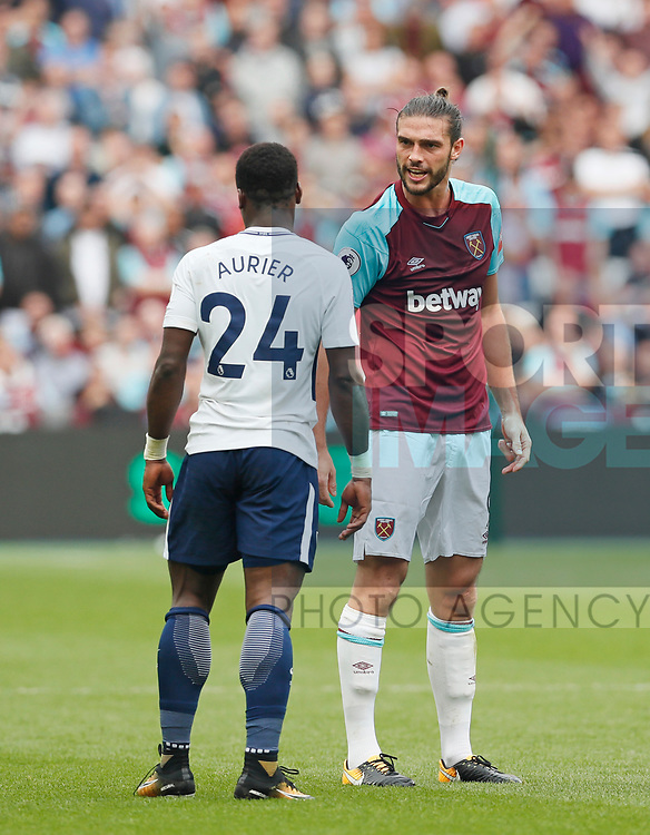 West Ham's Andy Carroll argues with Tottenham's Serge Aurier as he is sent off during the premier league match at the London Stadium, London. Picture date 23rd September 2017. Picture credit should read: David Klein/Sportimage