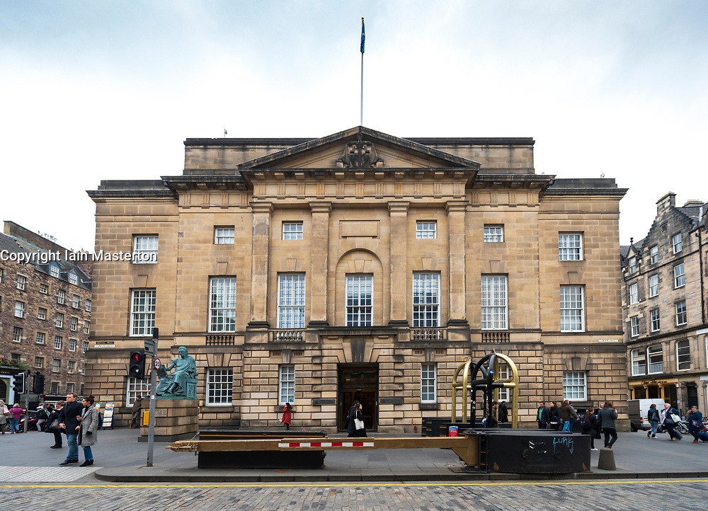 Exterior view of the High Court building on the Royal Mile in Edinburgh, Scotland UK