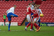 Leon Clarke (Bury) heads the ball towards the goal from a corner but misses the target during the Sky Bet League 1 match between Barnsley and Bury at Oakwell, Barnsley, England on 7 February 2016. Photo by Mark Doherty.