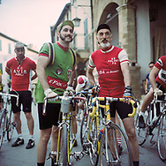 Father and son ready to start the 170 km race. Style is very important for partecipants. On May 27, 2018 the second edition od the Eroica went of, the Eroica is a bicycle race where only bikes berore 1985 can partecipate. Cyclists must wear vintage cloths and the road are often on gravel. It's a non competitive race, but fatigue and sweat are real. Federico Scoppa