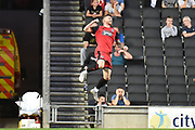 Grimsby Town striker Jordan Cook (11)scores a goal and celebrates  0-1 during the EFL Sky Bet League 2 match between Milton Keynes Dons and Grimsby Town FC at stadium:mk, Milton Keynes, England on 21 August 2018.