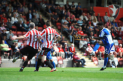 Ellis Harrison of Bristol Rovers  takes a shot - Mandatory by-line: Dougie Allward/JMP - 25/07/2015 - SPORT - FOOTBALL - Cheltenham Town,England - Whaddon Road - Cheltenham Town v Bristol Rovers - Pre-Season Friendly