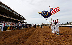 November 3, 2017 - San Diego, CA, USA - The color guard from the USS Makin Island present the colors during the Breeders' Cup at the Del Mar Thoroughbred Club on Friday, Nov. 3, 2017.  (Photo by K.C. Alfred/The San Diego Union-Tribune (Credit Image: © K.C. Alfred/San Diego Union-Tribune via ZUMA Wire)