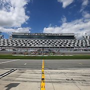 A general overview of the front stretch during practice for the 60th Annual NASCAR Daytona 500 auto race at Daytona International Speedway on Friday, February 16, 2018 in Daytona Beach, Florida.  (Alex Menendez via AP)