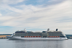 Luxury cruise liner Celebrity Silhouette leaving port of Invergordon in Ross and Cromarty,Highland, Scotland, United Kingdom